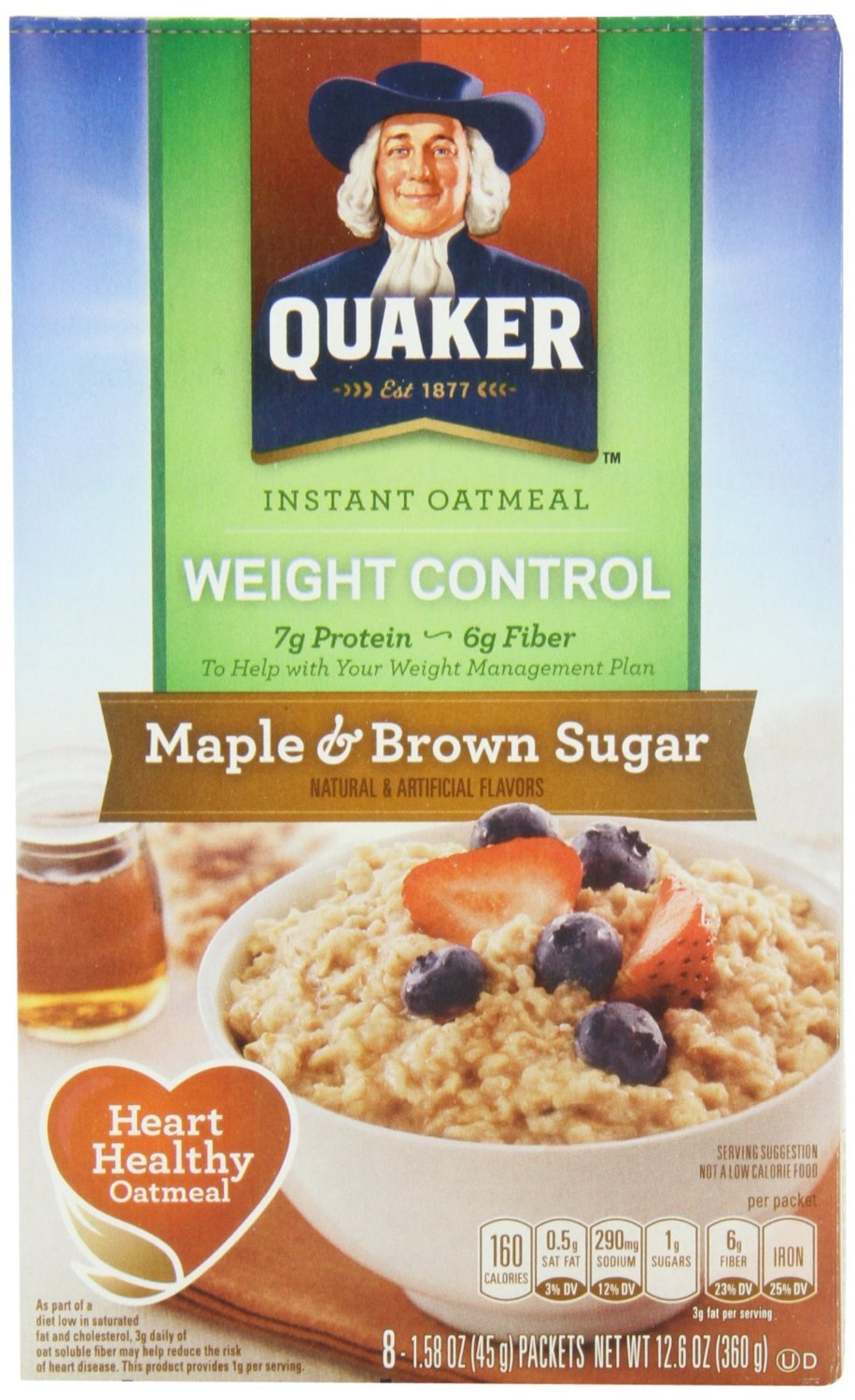 Quaker Instant Oatmeal - Maple & Brown Sugar, Heart Healthy Oatmeal, 10-count box, (Pack of 2)