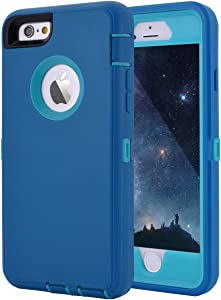 "Maxcury Crosstreesports iPhone 6 Case iPhone 6s Case Heavy Duty Shockproof Series Case for iPhone 6/6S (4.7"")-V2 with Built-in Screen Protector Compatible with All US Carriers - Teal and Lt Blue"