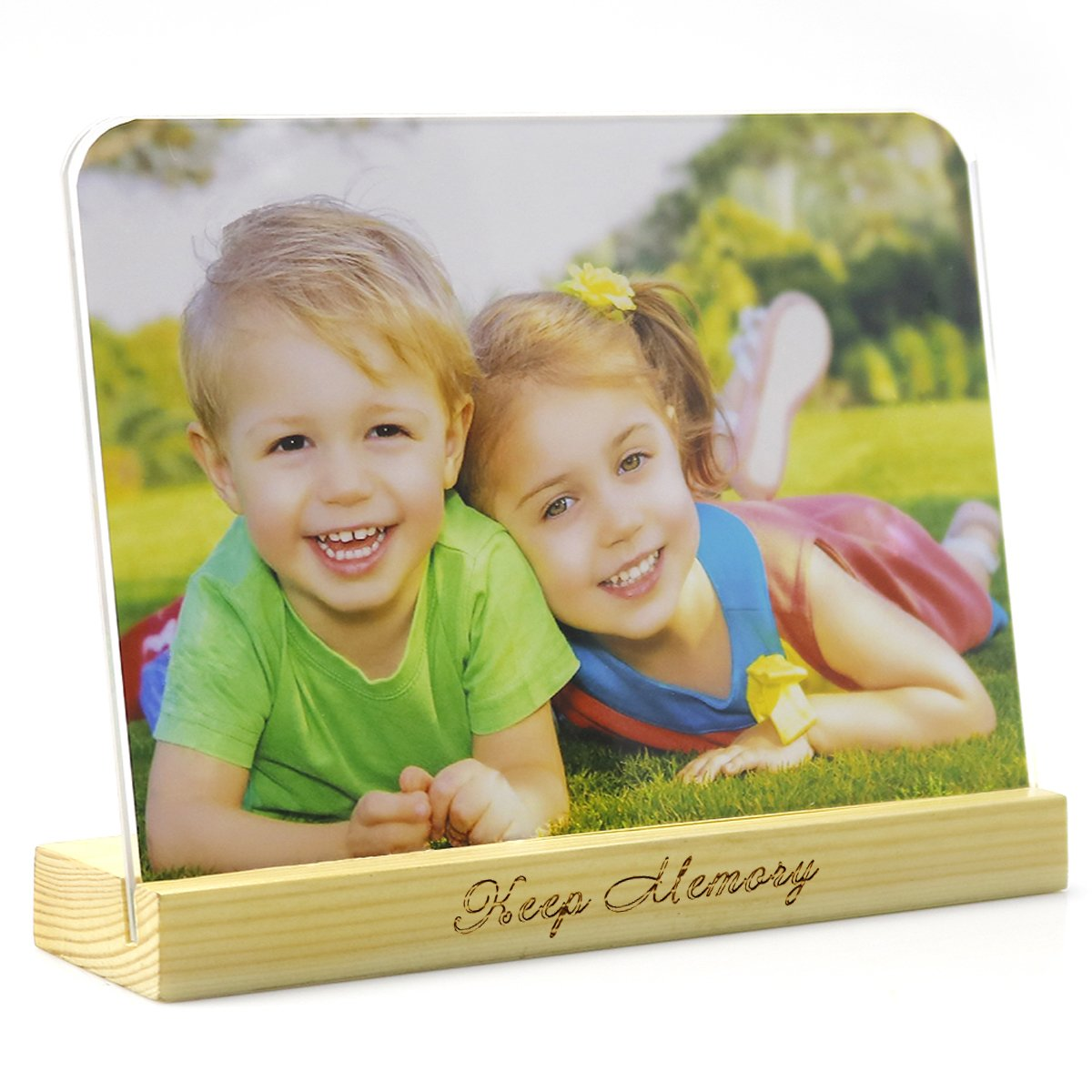 6x8 Picture Frame Round Corner Clear Photo Frame Desk Calendar Display and Wood Holder - Clear Acrylic Glass Picture Frame and Solid Wood Holder - Photo Display Stand on Desktop - SupperAcrylic