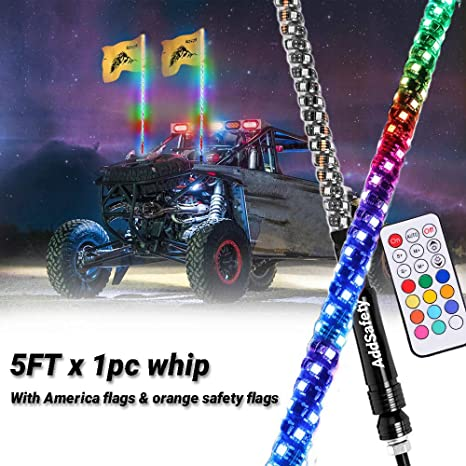3FT//5FT RGB Waterproof Bendable Wireless Remote Control Super Bright LED Flagpole Lamp Light Accessories for ATV Polaris RZR 4 Wheeler LED Whip Lights 3FT