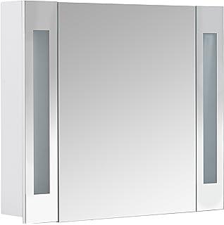 Galdem CURVE80 Spiegelschrank, Holz, 80 X 70 X 15 Cm, Weiß