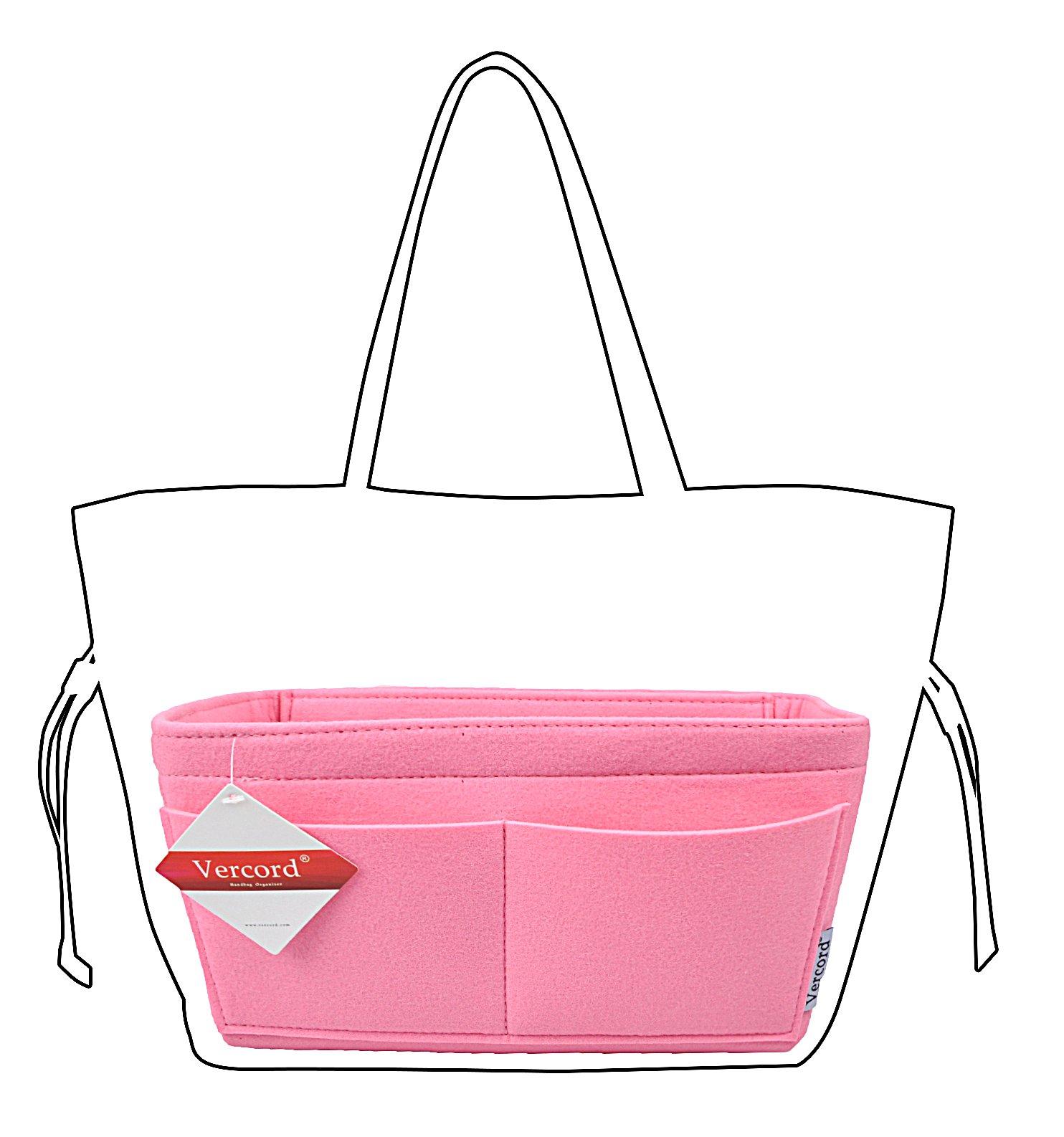Felt Handbag organizer,Insert Purse Organizer 10 Pockets Structure Shaper 2 Size (M, Pink)