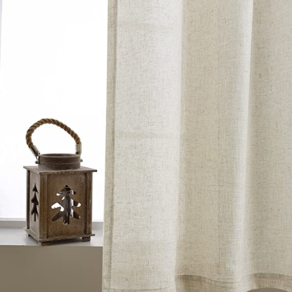 Linen Textured Curtains for Living Room 84 inches Long Bedroom Window Treatment Linen Look Window Curtain Panels Grommet Top 2 Panels Crude Vangao VGUSCLGM-5084C00