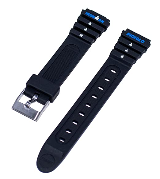 Timex Ironman Triathlon Womens 15mm Small Classic Black Sport Indigo Replacement Watch Band T82271