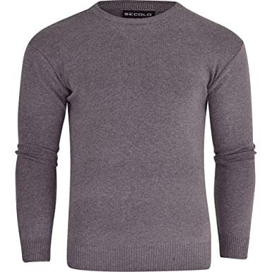 f39f43dead3728 Secolo Mens Plain Jumper Basic Soft Knitted Crew Round Neck Knit Knitwear  Sweater  Amazon.co.uk  Clothing