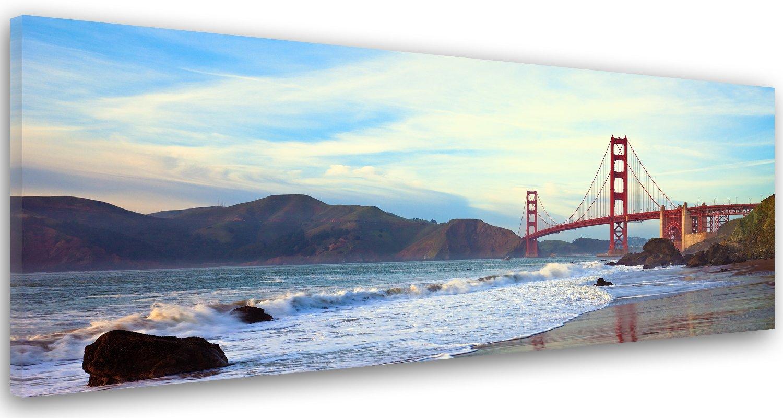 Feeby Frames, Leinwandbild, Bilder, Wand Bild, Wandbilder, Kunstdruck 60x150cm, GOLDEN GATE BRIDGE, BRÜCKE, SAN FRANCISCO, WASSER, BERGE, ANSICHT, BLAU, BRAUN