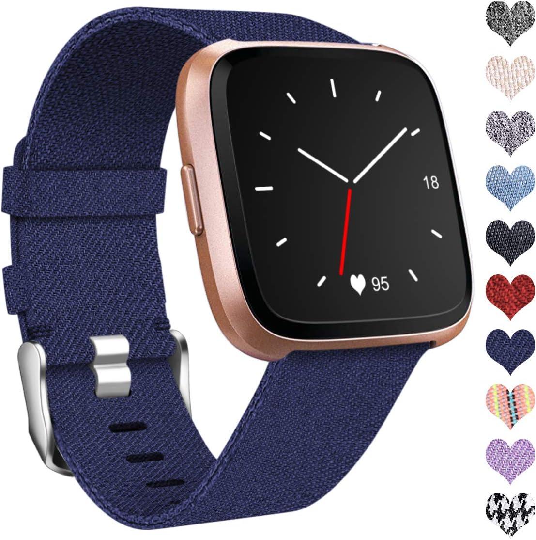 Ouwegaga Compatible con Fitbit Versa Correa/Fitbit Versa 2 Correa, Pulsera Tejidas Ajustable Reemplazo Sport Wristband Compatible con Fitbit Versa Smartwatch, Grande, Azul: Amazon.es: Electrónica