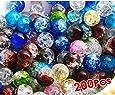 HOUSWEETY 200 Pcs Perle en Cristal Crystal Verre Rond 6mm Multicolor