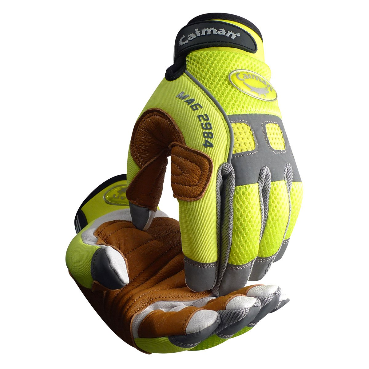 Large Caiman 2984-5 Rappelling /& Rope Handling Glove with Goatskin Palm /& Pig Grain Reinforcement Layer