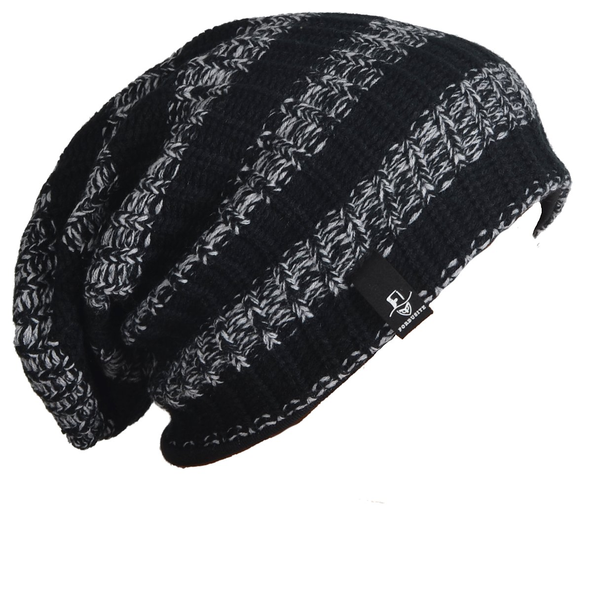 FORBUSITE Mens Slouchy Long Oversized Beanie Knit Cap for Summer Winter B08 B08-black-MD