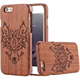 For iPhone 5 5s SE Case, FLOVEME [Wooden Engraving Pattern] Premium Handmade Real Natural Wood Hard Bamboo Shockproof Slim Cover Holder - Rosewood (Wolf)