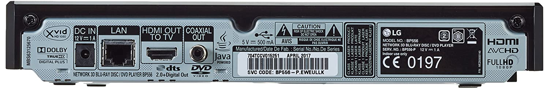schwarz LG BP556 3D Blu-ray Player WLAN, Smart TV, DLNA, Upscaler 1080p, LAN, USB