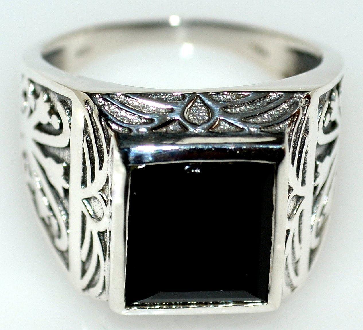 Massiver Herrenring aus 925er Sterlingsilber authentischer Siegelring-Look Gr/ö/ßen 56,5 bis 70 mit schwarzem Onyx 5.