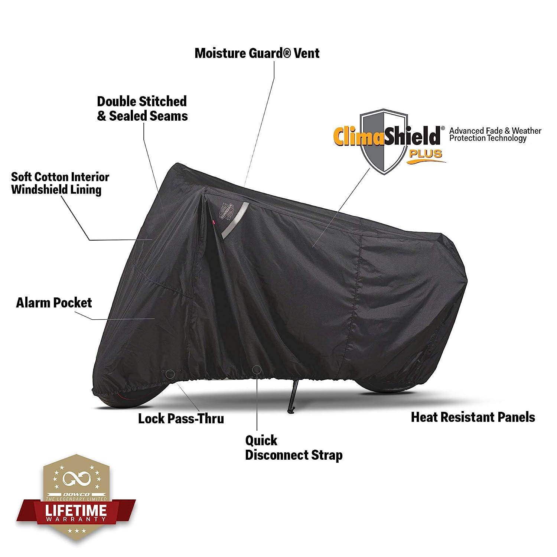 Black Medium Dowco Guardian 50002-02 WeatherAll Plus Indoor//Outdoor Waterproof Motorcycle Cover