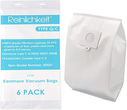 Reinlichkeit Style Q/C Canister Vacuum Bags for Kenmore 5055, 50557, 50558. Part Number 20-53292.6 Pack