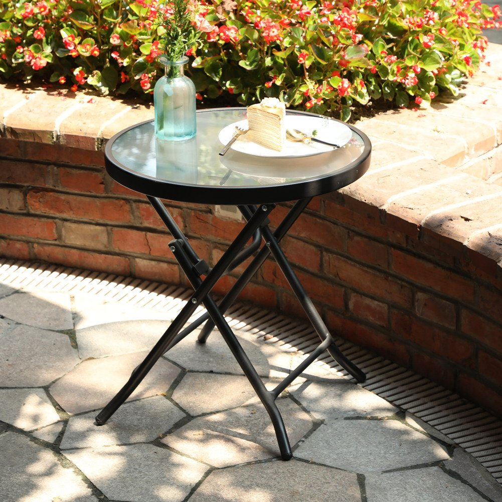 Captiva Designs 18'' Patio Small Side Table-Little Folding Glass Table, Clear by Captiva Designs (Image #1)