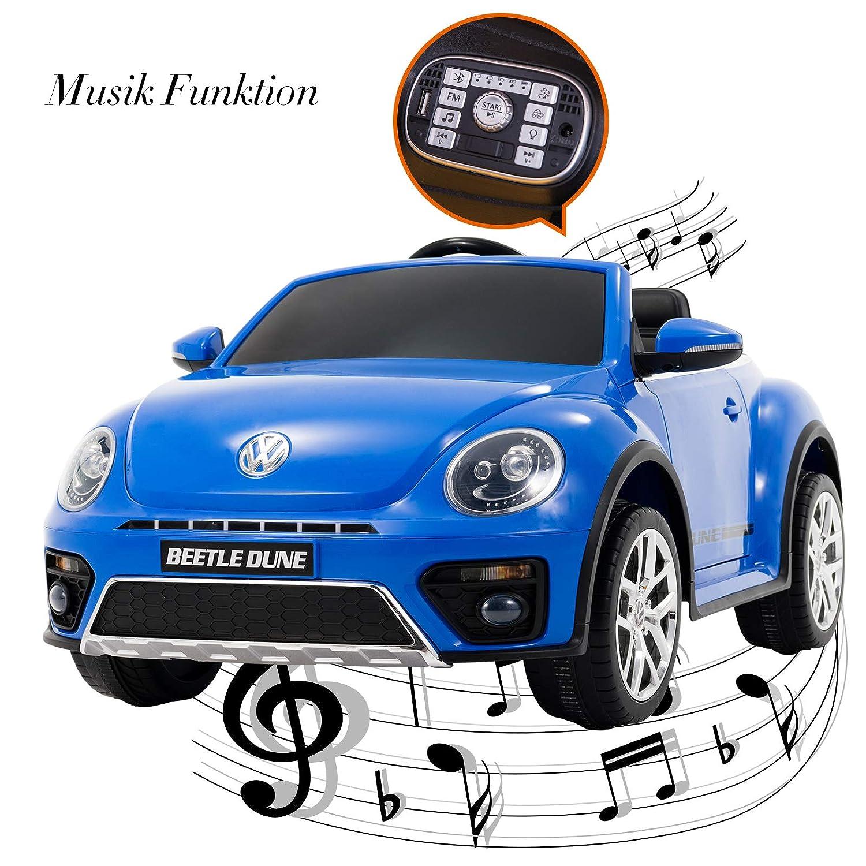UEnjoy kompatibel mit Volkswagen K/äfer Kinderauto 12V Kinderfahrzeug Elektro VW Beetle Double-Drive Auto f/ür Kinder mit Fernbedienung,Musik,LED-Leuchten Blau Doppelt/ür