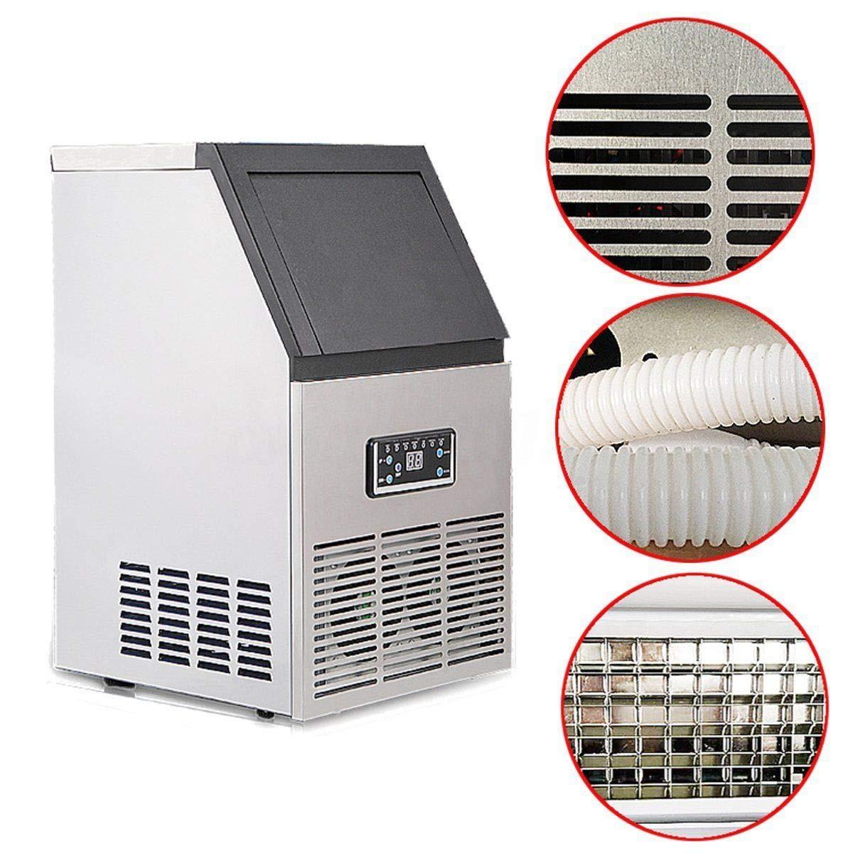FidgetFidget 50kg Auto Commercial Ice Maker Cube Machine Stainless Steel Bar 110Lbs 230W 110V