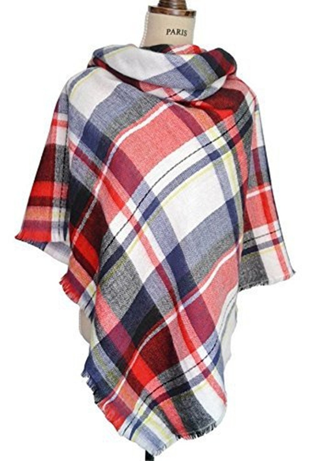 Spring Fever Plaid Checked Tartan Scarf Wrap Shawl(Red) MNSCAS0114A04FS