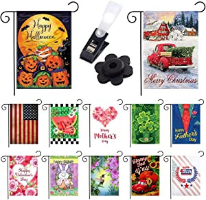 "Seasonal Garden Flag Set of 12 Pack 12""x 18"" Double Sided Design for All Seasons and Holidays Made of Polyester to Bright Up Your 12 Months (Festive Garden Flag - 6)"