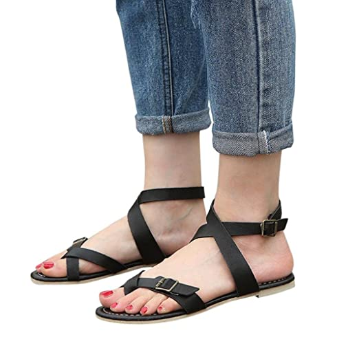 be271cf0a80a Amazon.com  BSGSH Flat Summer Sandals for Women Thong Toe Ring Ankle Buckle  Strappy Gladiator Sandals  Clothing
