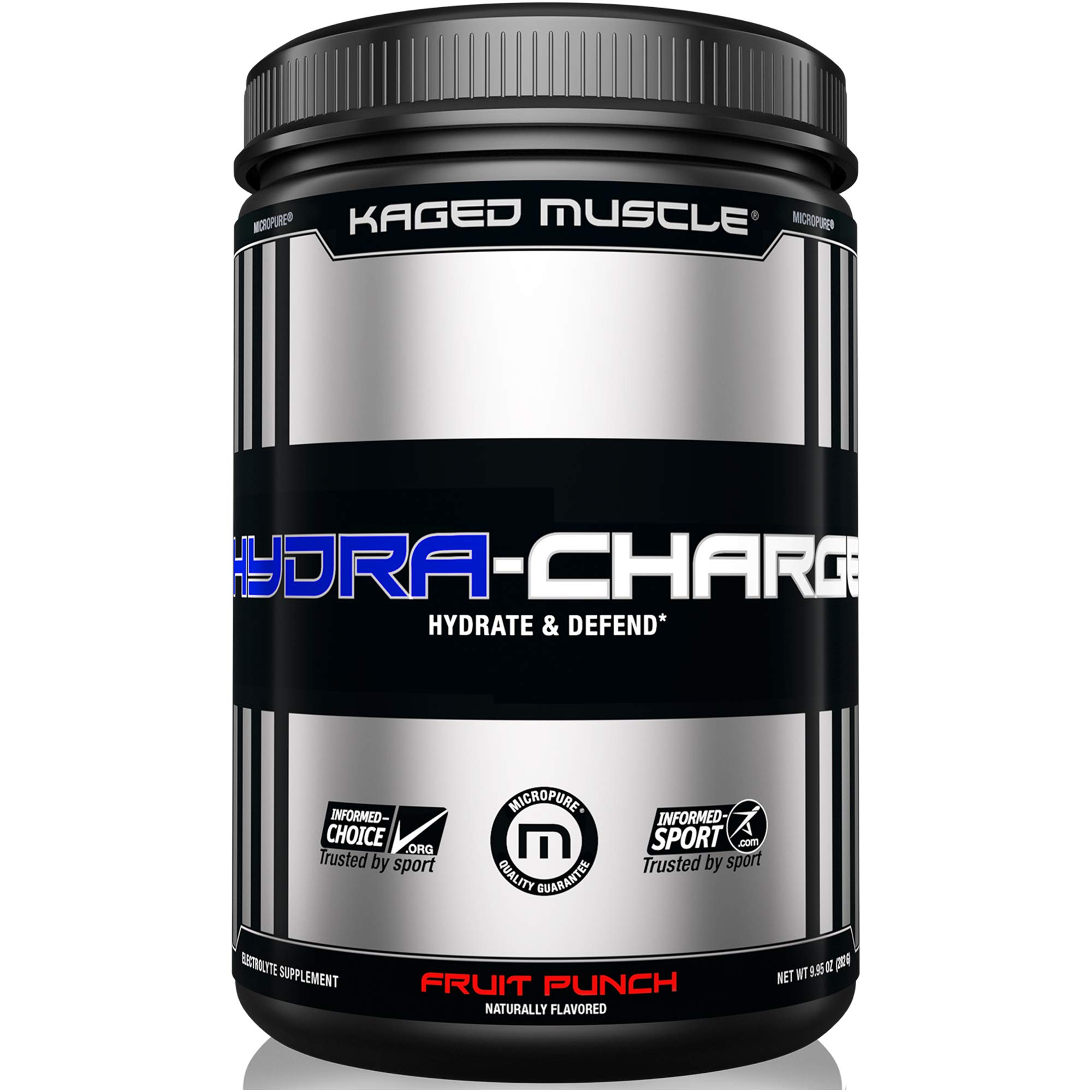 KAGED MUSCLE, HYDRA CHARGE Premium Electrolyte Powder, Hydrate, Pre Workout, Post Workout, Intra Workout, Fruit Punch, 60 Servings by Kaged Muscle