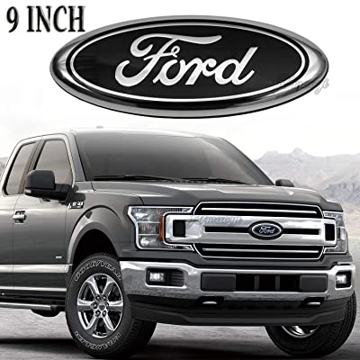 "For Ford Emblem Front Grille Emblems 9""X3.5"" Tailgate Badge Replacement Oval Medallion Name Plate for F-150 2004-2014, F-250/ F-350 2005-2007,Edge 2011-2014,Explorer 2011-2016,EXPEDITION,RANGER: Automotive"