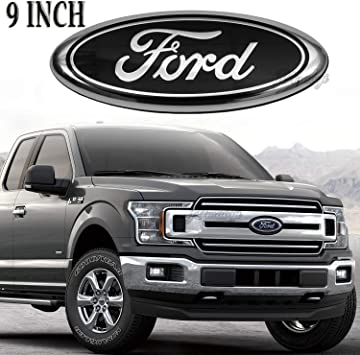 11-16 Explorer Oval 9X3.5 06-11 Ranger 2004-2014 F150 Front Grille Tailgate Emblem Compatible With Ford 11-14 Edge Black Silver Decal Badge Nameplate Also Fits for 04-14 F250 F350