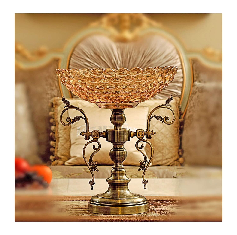 MWNV ヨーロッパ錬鉄製ベースクリスタルガラスフルーツプレート結婚式パーティー人格創造的な贈り物古典的な家のリビングルームの装飾フルーツプレート -フルーツバスケット   B07PJD8N9F