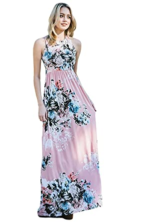 ebb15797d3 Inspire L' Amour Womens Ever After Floral Sleeveless Maxi Dress with Pocket  and High Neck Line at Amazon Women's Clothing store: