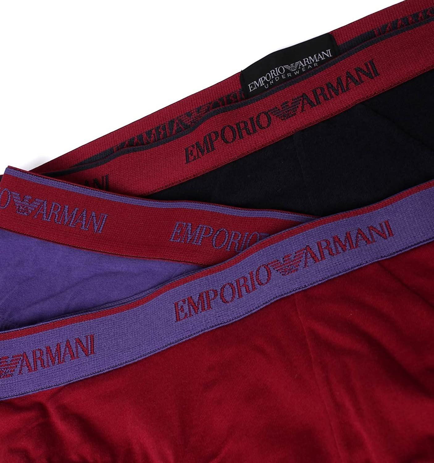 Mens Mixed Emporio Armani Three Pack Blue, Red & Back Briefs