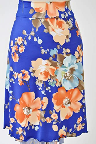 Falda de tango en cascada con estampado floral bastante azul y ...