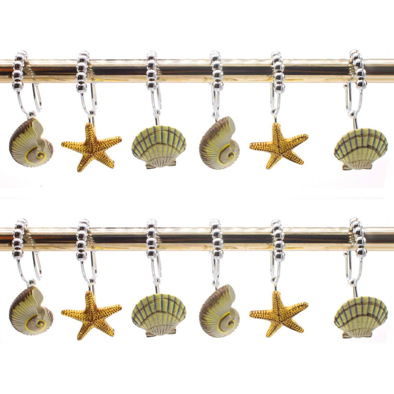 12PCS Anti Rust Shower Curtain Hooks Rings Resin Starfish Shell for Bathroom Baby Room Set of 12 Shower Rings