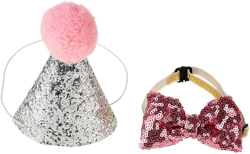 Sheens Reservation 2Pcs Pet Cat Dog Birthday Caps Headwear Party Bowknot Save money Hat