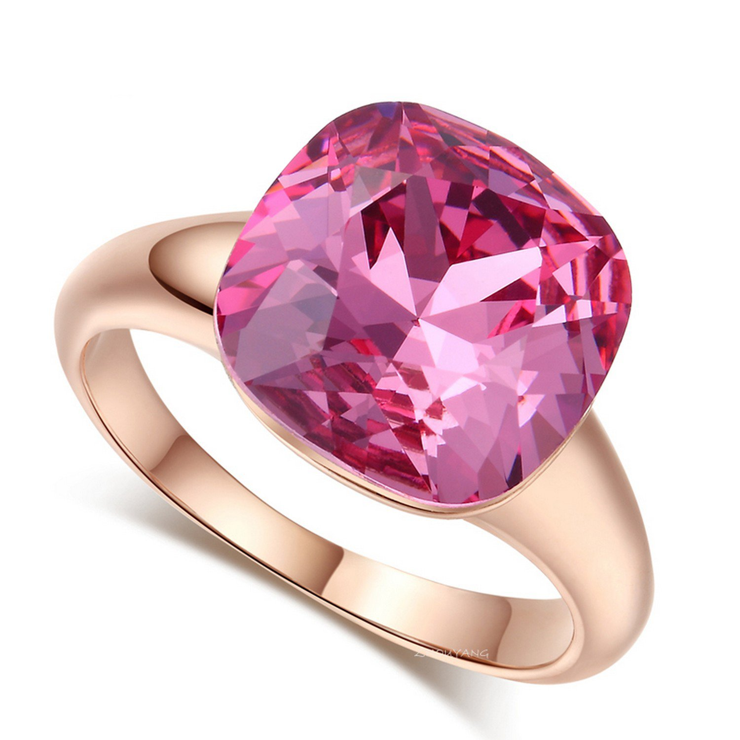 Cherryn Magic Pink Rose Gold Color Jewelry Ring Made With engagement rings