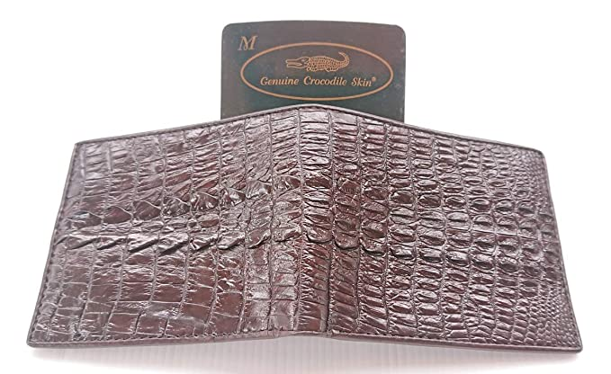 bc22098f8bf2 Genuine Real Tail Crocodile Leather Skin Man Bifold Dark Brown ...