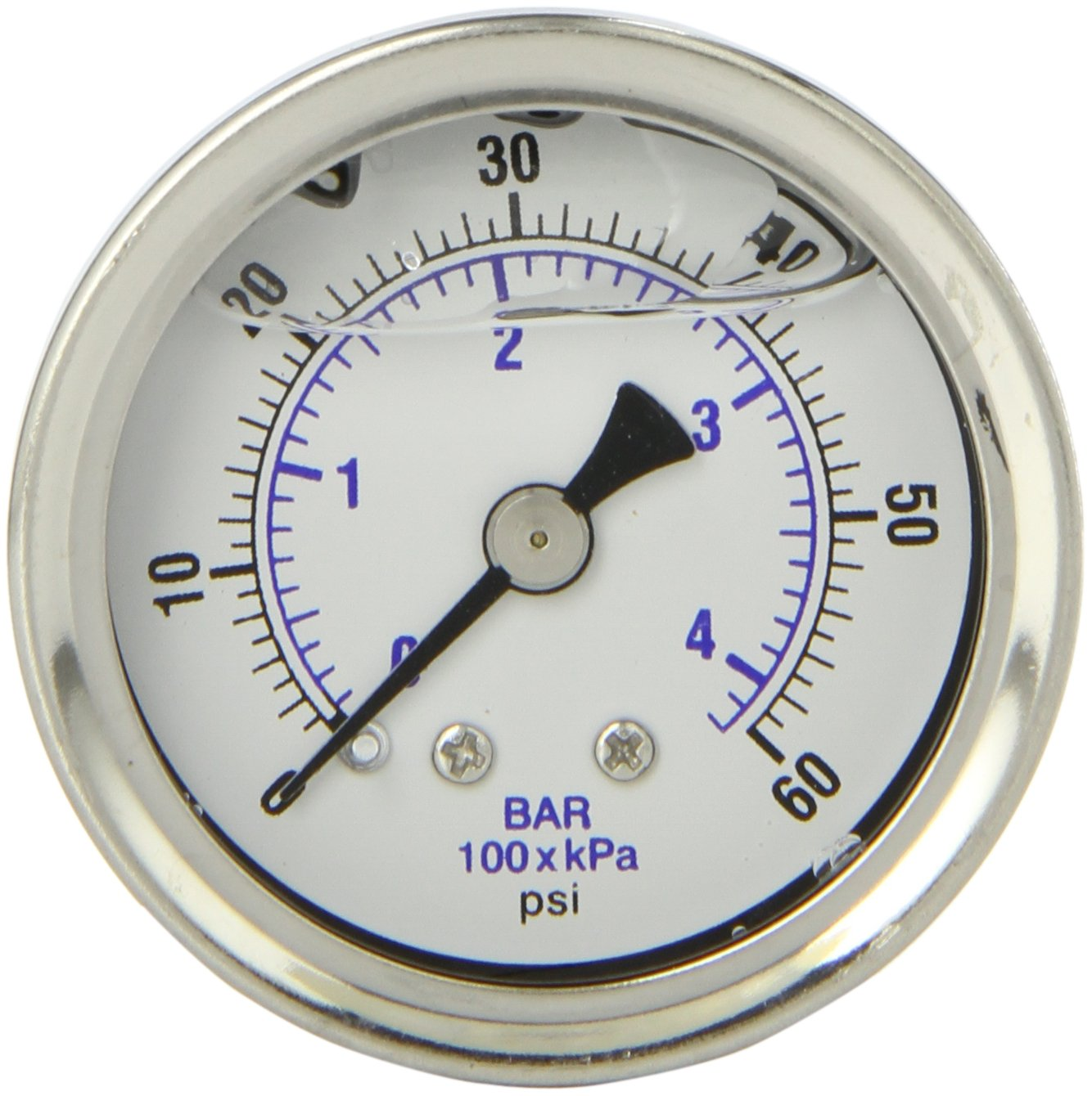 PIC Gauge 202L 158D 1.5 Dial 0 60 psi Range 1 8 Male NPT Connection Size Center Back Mount Glycerine Filled Pressure Gauge with a Stainless Steel Case Brass Internals Stainless Steel Bezel and Polycarbonate Lens