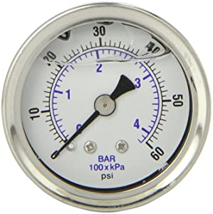 """PIC Gauge 202L-158D 1.5"""" Dial, 0/60 psi Range, 1/8"""" Male NPT Connection Size, Center Back Mount Glycerine Filled Pressure Gauge with a Stainless Steel Case, Brass Internals, Stainless Steel Bezel, and Polycarbonate Lens"""