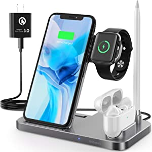 4 in 1 Wireless Charging Station, Saferell 2020 Upgraded Qi-Certified Fast Charging Dock Stand for Apple Watch Series 6/SE/5/4/3/2, AirPods & Pencil, Compatible with iPhone11 Pro/XS/XR/8/Samsung