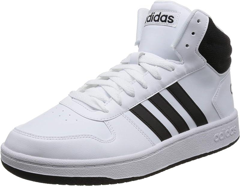 adidas Hoops 2.0 Mid Sneakers Basketball Schuhe Herren Weiß mit schwarzen Streifen