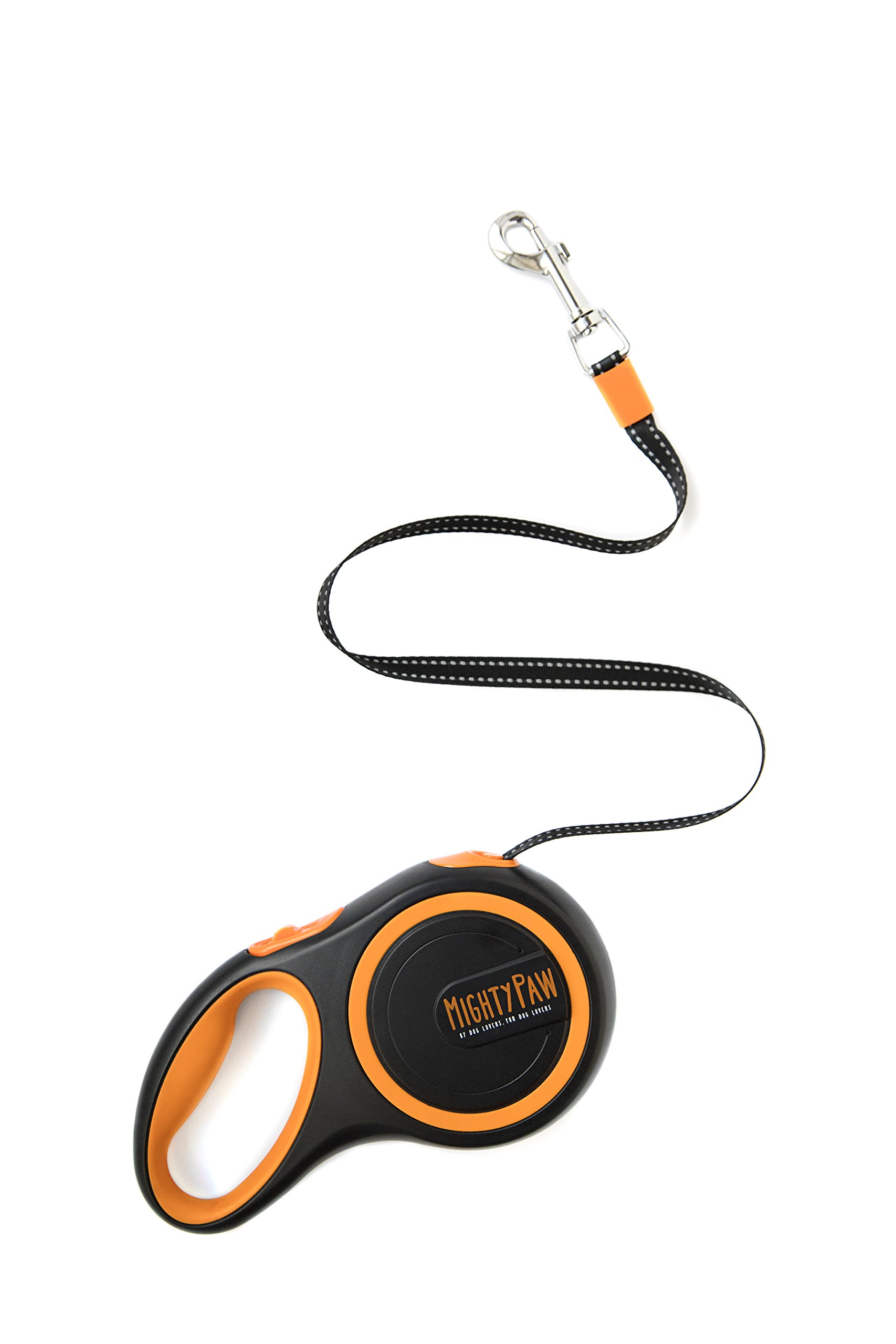 Mighty Paw Retractable Dog Leash, Extra-Durable 10x's Strength Stainless Steel Internal Coil, Reflective Stitching, 1-Touch Lock, No-Slip Grip (Standard, Black) by Mighty Paw (Image #1)