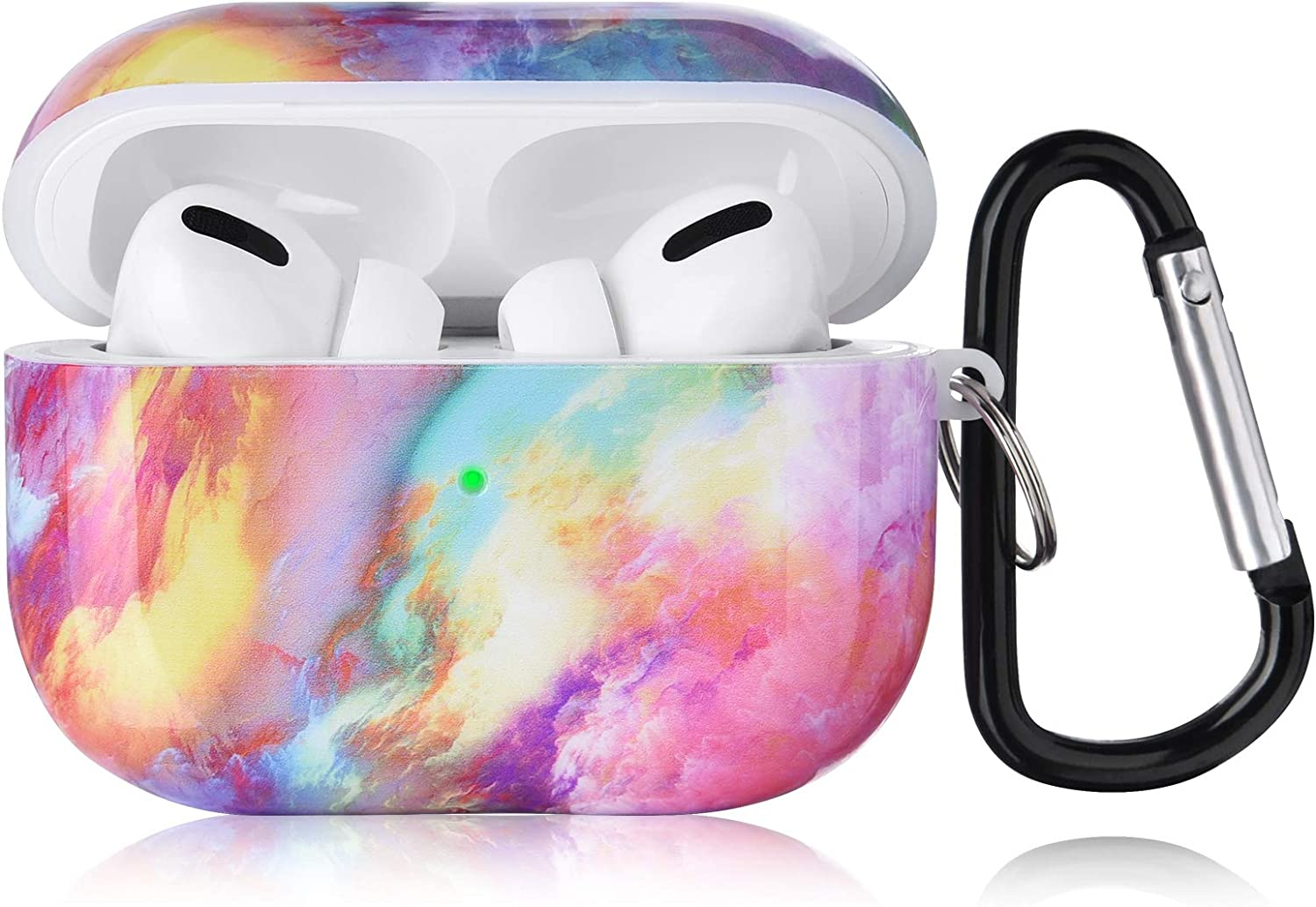 KOREDA Compatible with Airpods Pro Case, Cute Accessories Marble Protective Hard Case Cover Portable & Shockproof Women Girls Men with Keychain/Strap for Apple Airpods Pro Charging Case (Colorful)