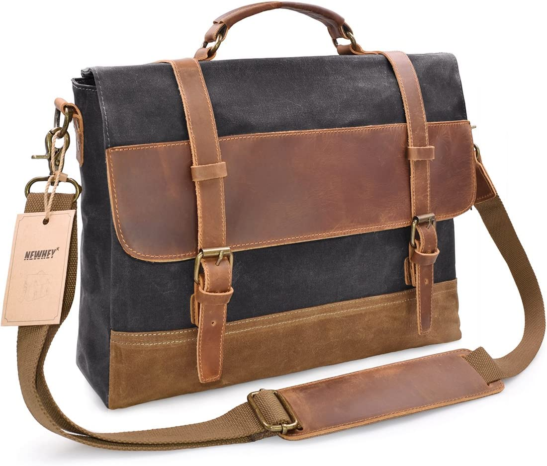 NEWHEY Mens Messenger Bag Waterproof Canvas Leather Computer Laptop Bag
