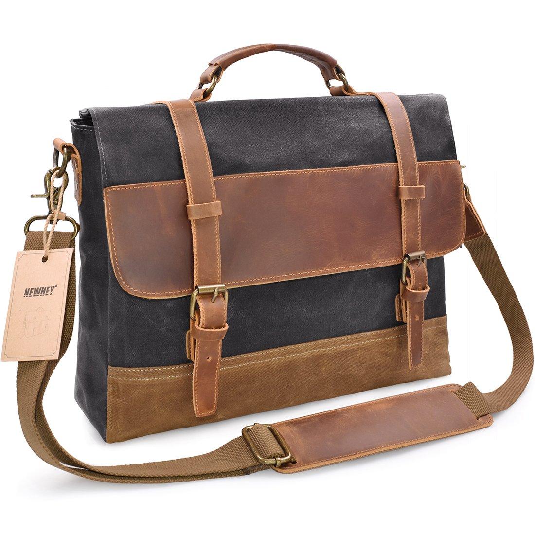 NEWHEY Mens Messenger Bag Waterproof Canvas Leather Computer Laptop Bag 15.6 Inch Briefcase Case Vintage Retro Waxed Canvas Genuine Leather Large Satchel Shoulder Bag College Grey