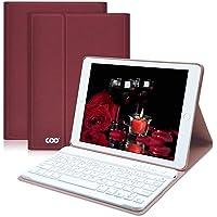 COO iPad Hülle Tastatur QWERTZ für iPad 2018/iPad 2017, iPad Air 2 / iPad Air abnehmbare kabellose Bluetooth-Tastatur und ultradünne magnetische PU-Hülle mit Multi-Winkel-Halterungsnut (Weinrot)