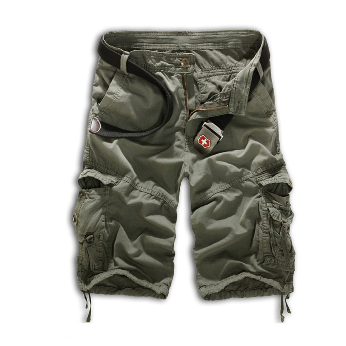 Leward Mens Casual Slim Fit Cotton Solid Multi-Pocket Cargo Camouflage Shorts (34, Olive Green)