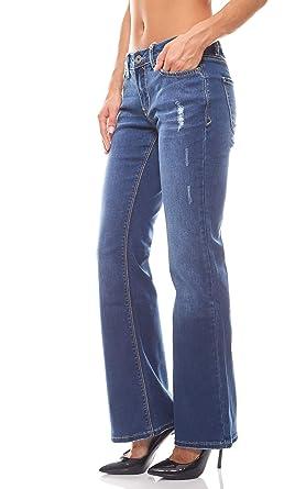 Arizona Damen Hose Destroyed Schlaghose Bootcut Jeans