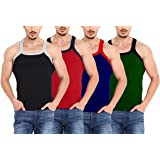 Inner's Hub G.B Mens 100% Premium Cotton Gym Rib Sleeveless Vest Innerwear Combo Pack of 4 (Assd, Colors Will Be Sent)