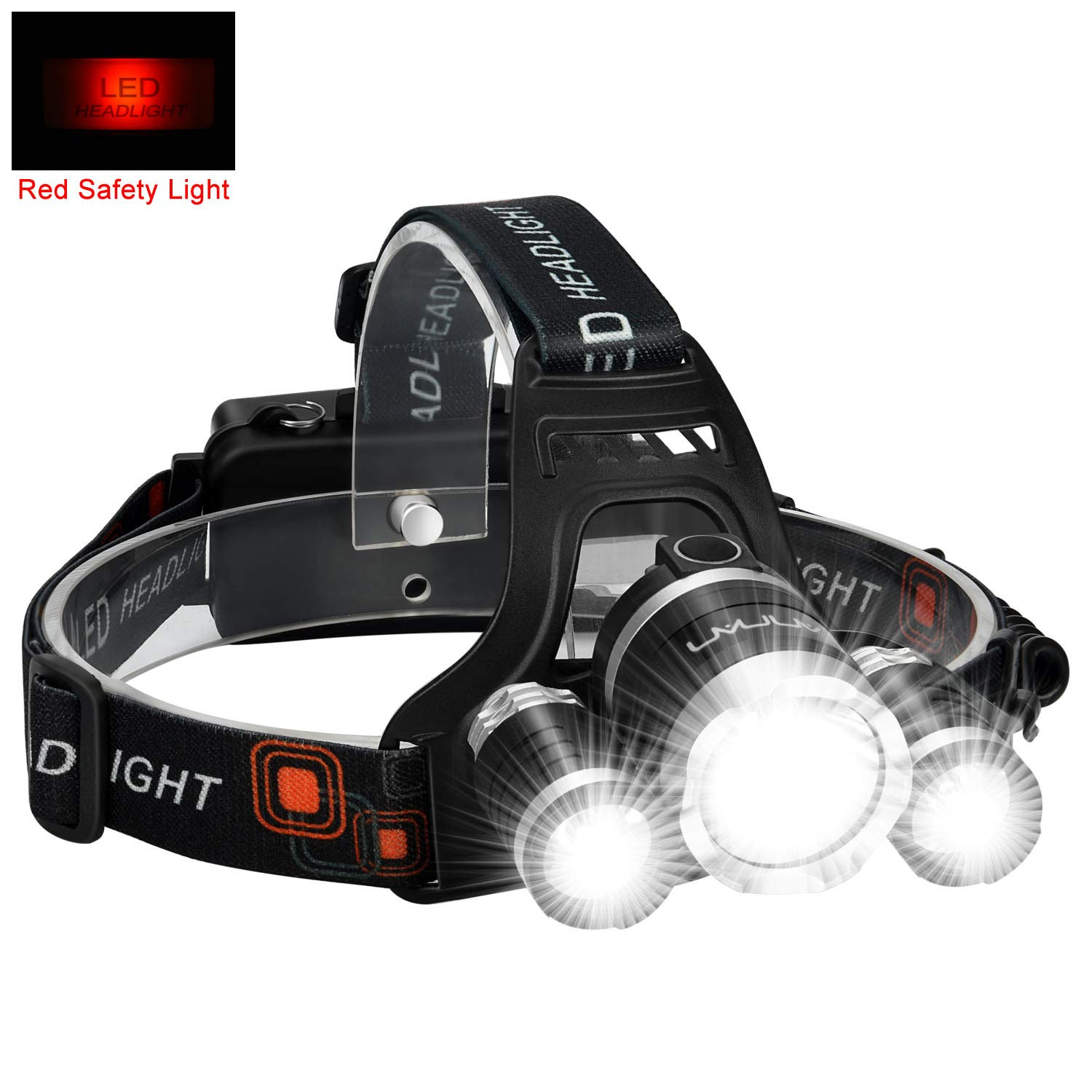 LED Headlamp Flashlight Kit, ANNAN 8000-Lumen Extreme Bright Headlight with Red Safety Light, 4 Modes, Waterproof, Portable Light for Camping, Biking, 2 Rechargeable Lithium Batteries Included by ANNAN