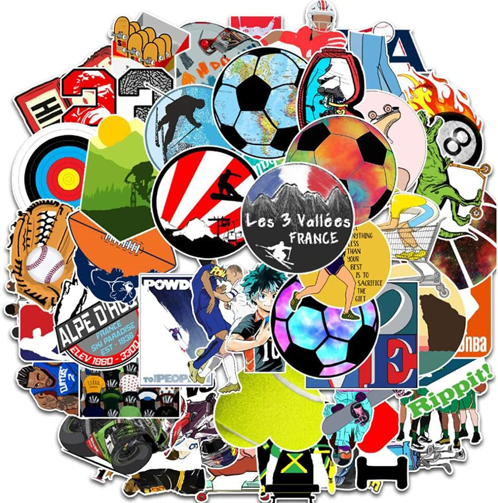 Sports Events Stickers for Laptop 50 Pcs Vinyl Waterproof Soccer Basketball Billiards Racing Rugby Baseball Sticker Pack for Luggage Guitar Skateboard Car Motorcycle Hydro Flask Stickers Decals